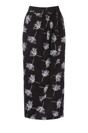 Stencil Floral Skirt - length: below the knee; style: straight; waist: high rise; predominant colour: black; secondary colour: black; occasions: casual, creative work; fibres: polyester/polyamide - 100%; waist detail: feature waist detail; trends: monochrome; fit: straight cut; pattern type: fabric; pattern: florals; texture group: other - light to midweight; pattern size: big & busy (bottom); season: s/s 2016; wardrobe: highlight