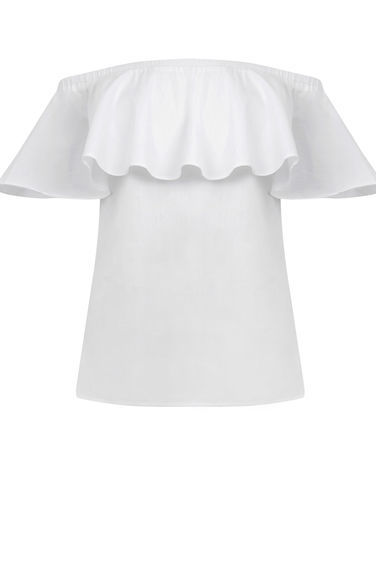 Cotton Off Shoulder Ruffle Top - neckline: off the shoulder; sleeve style: angel/waterfall; pattern: plain; predominant colour: white; occasions: casual; length: standard; style: top; fibres: cotton - 100%; fit: body skimming; sleeve length: short sleeve; texture group: cotton feel fabrics; pattern type: fabric; season: s/s 2016; wardrobe: highlight