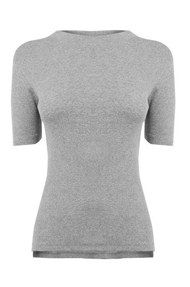 Rib Tee - pattern: plain; neckline: high neck; predominant colour: light grey; occasions: casual, creative work; length: standard; style: top; fibres: cotton - stretch; fit: tight; sleeve length: short sleeve; sleeve style: standard; texture group: knits/crochet; pattern type: knitted - fine stitch; season: s/s 2016; wardrobe: basic
