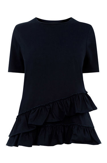Cotton Poplin Ruffle Tee - pattern: plain; predominant colour: navy; occasions: casual, creative work; length: standard; style: top; fibres: cotton - stretch; fit: body skimming; neckline: crew; sleeve length: short sleeve; sleeve style: standard; texture group: knits/crochet; pattern type: knitted - fine stitch; season: s/s 2016; wardrobe: basic