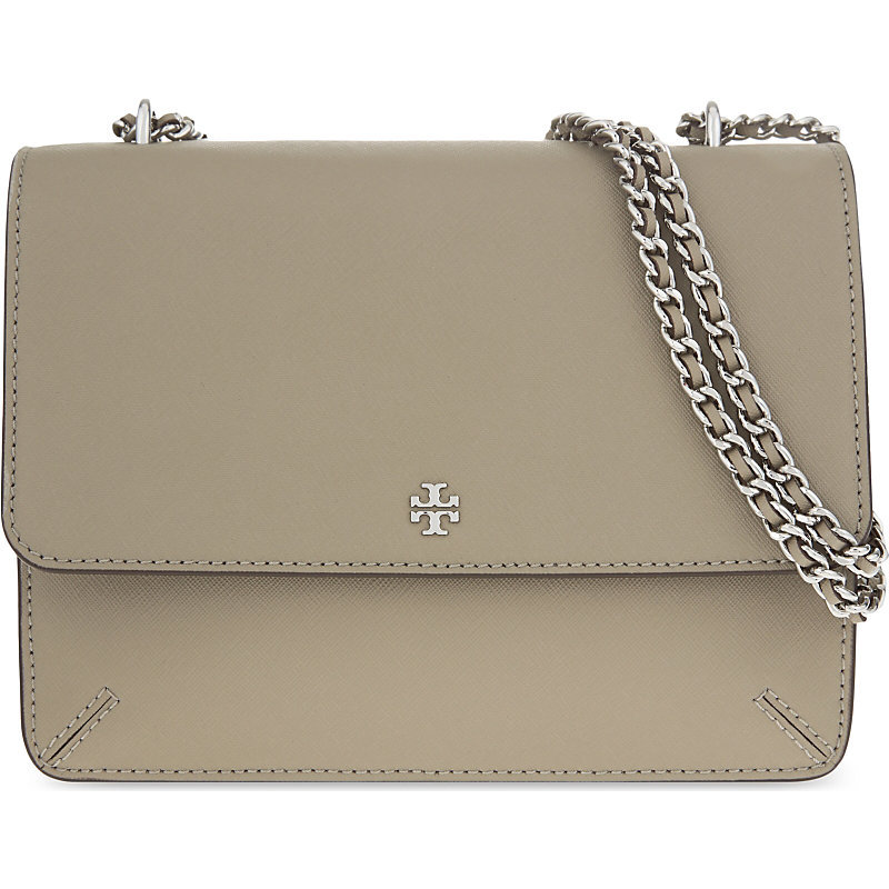 Robinson Convertible Leayher Shoulder Bag, Women's, French Gray - predominant colour: taupe; occasions: casual, creative work; type of pattern: standard; style: shoulder; length: shoulder (tucks under arm); size: standard; material: leather; pattern: plain; finish: plain; embellishment: chain/metal; season: s/s 2016; wardrobe: investment