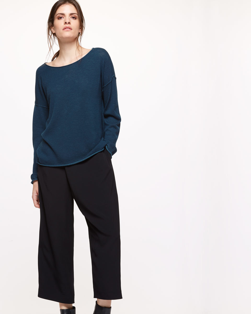 Plated Slouchy Jumper - neckline: round neck; pattern: plain; style: standard; predominant colour: navy; occasions: casual, work, creative work; length: standard; fibres: cotton - mix; fit: loose; sleeve length: long sleeve; sleeve style: standard; texture group: knits/crochet; pattern type: knitted - fine stitch; season: s/s 2016; wardrobe: basic