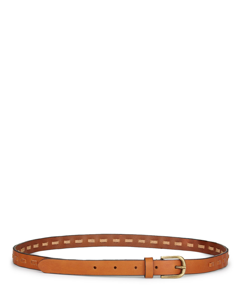 Brooke Whipstitch Jeans Belt - predominant colour: tan; occasions: casual, creative work; type of pattern: standard; style: classic; size: skinny; worn on: hips; material: leather; pattern: plain; finish: plain; season: s/s 2016