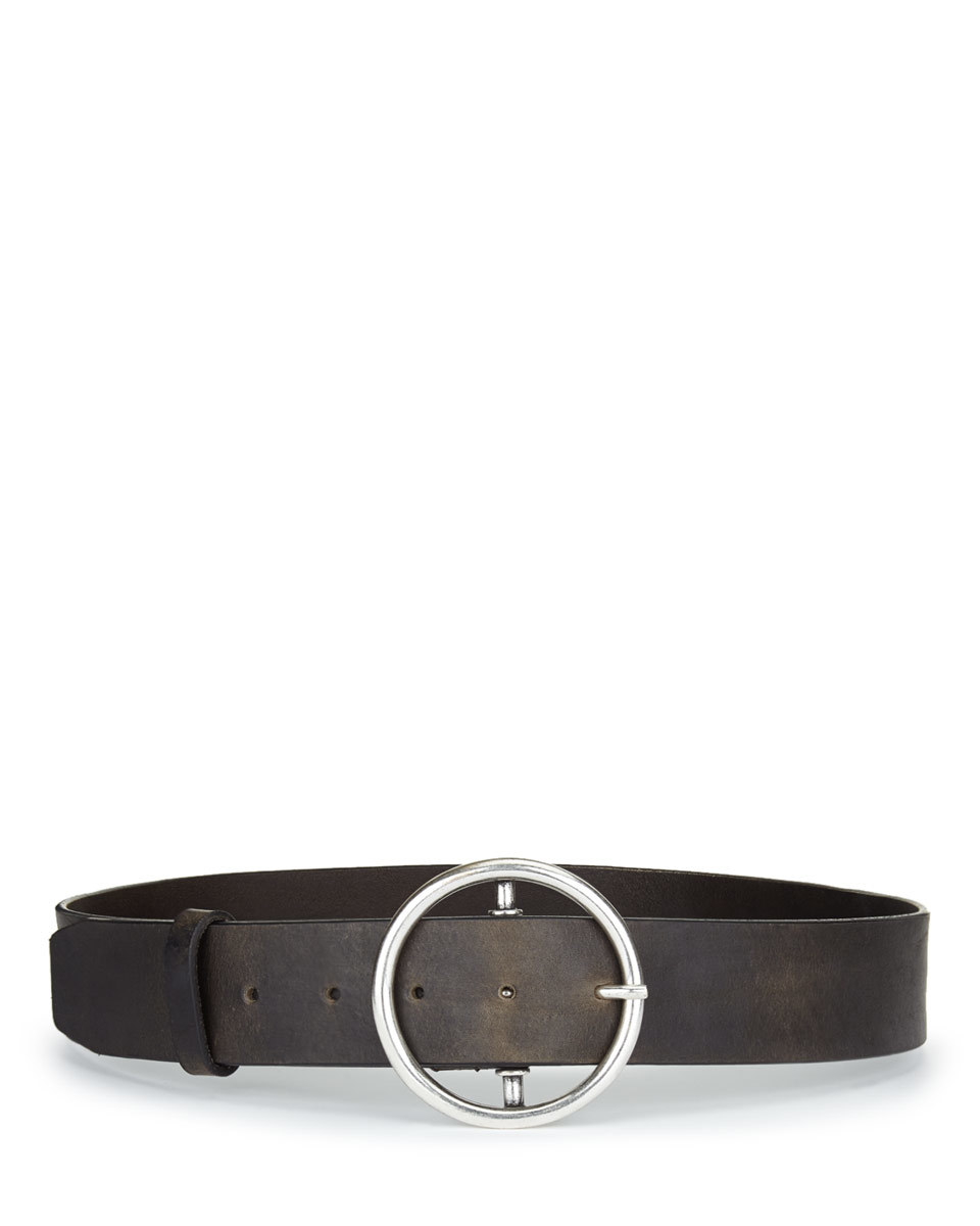 Becca Oversized Circle Waist Belt - predominant colour: black; occasions: casual, creative work; type of pattern: standard; style: classic; size: standard; worn on: waist; material: leather; pattern: plain; finish: plain; season: s/s 2016