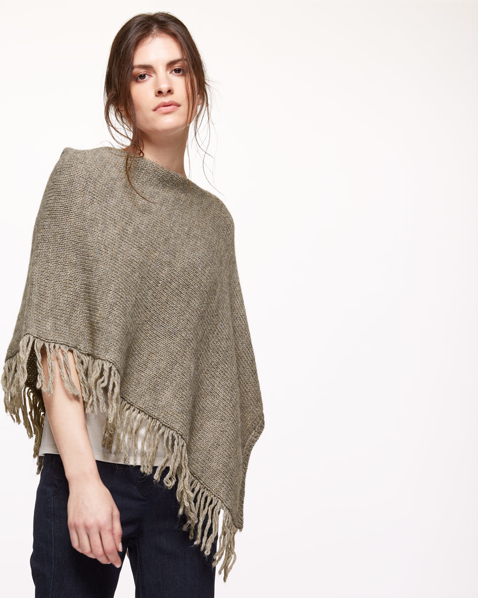 Fringed Poncho - neckline: slash/boat neckline; pattern: plain; hip detail: front pockets at hip; style: poncho; predominant colour: taupe; occasions: casual; length: standard; fibres: cotton - mix; fit: loose; sleeve length: 3/4 length; texture group: knits/crochet; pattern type: knitted - other; embellishment: fringing; sleeve style: cape/poncho sleeve; season: s/s 2016; wardrobe: highlight