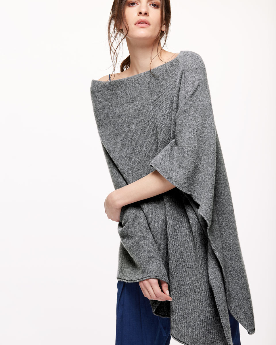 Longer Knit Ribbed Border Poncho - neckline: slash/boat neckline; pattern: plain; length: below the bottom; style: poncho; predominant colour: charcoal; occasions: casual; fibres: wool - mix; fit: loose; sleeve length: 3/4 length; texture group: knits/crochet; pattern type: knitted - other; sleeve style: cape/poncho sleeve; season: s/s 2016; wardrobe: highlight
