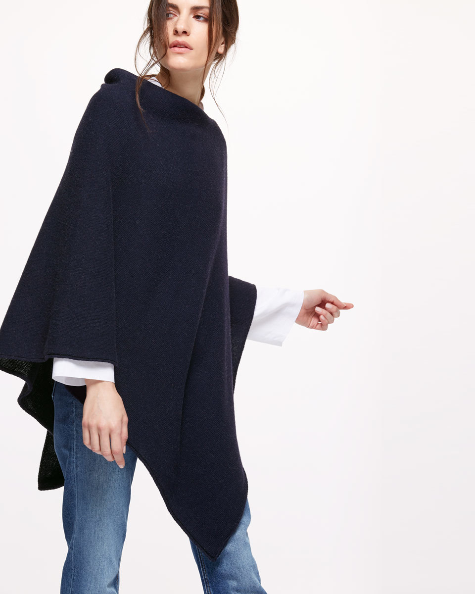 Longer Knit Ribbed Border Poncho - neckline: slash/boat neckline; pattern: plain; length: below the bottom; style: poncho; predominant colour: navy; occasions: casual; fibres: wool - mix; fit: loose; sleeve length: long sleeve; texture group: knits/crochet; pattern type: knitted - other; sleeve style: cape/poncho sleeve; season: s/s 2016; wardrobe: highlight