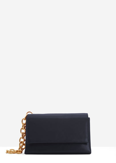 Chain Bag - predominant colour: navy; secondary colour: gold; occasions: evening; type of pattern: standard; style: clutch; length: hand carry; size: standard; material: faux leather; pattern: plain; finish: plain; embellishment: chain/metal; season: s/s 2016; wardrobe: event