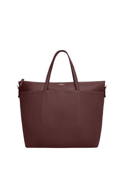 Faux Leather Shopper Bag - predominant colour: burgundy; occasions: casual, creative work; type of pattern: standard; style: tote; length: handle; size: oversized; material: faux leather; pattern: plain; finish: plain; season: s/s 2016; wardrobe: highlight