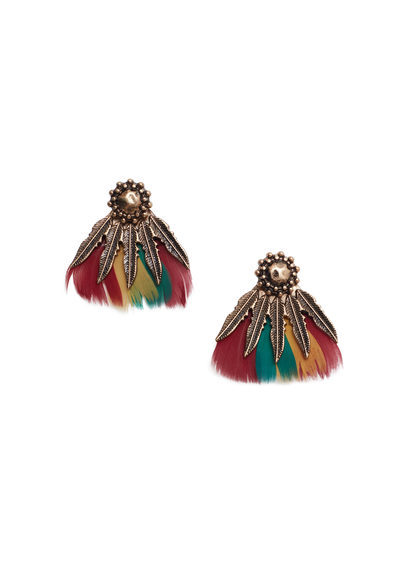 Mixed Pieces Earrings - predominant colour: gold; occasions: evening, occasion, holiday; style: stud; length: mid; size: standard; material: chain/metal; fastening: pierced; finish: plain; embellishment: feathers; multicoloured: multicoloured; season: s/s 2016; wardrobe: basic