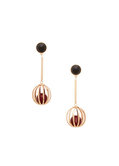 Metal Pendant Earrings - predominant colour: gold; secondary colour: black; style: drop; length: long; size: standard; material: chain/metal; fastening: pierced; occasions: holiday, creative work; finish: plain; embellishment: beading; season: s/s 2016; wardrobe: highlight