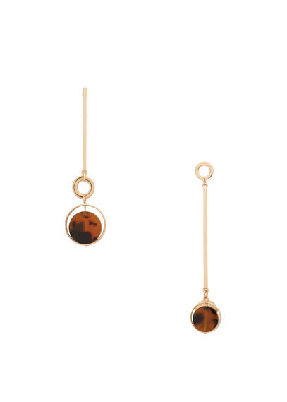 Metal Pendant Earrings - secondary colour: tan; predominant colour: gold; occasions: evening, occasion; style: drop; length: long; size: standard; material: chain/metal; fastening: pierced; finish: metallic; embellishment: jewels/stone; season: s/s 2016; wardrobe: event