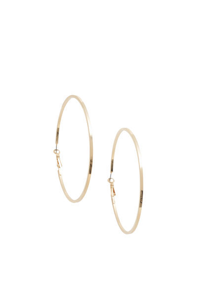 Hoop Earrings - predominant colour: gold; occasions: evening; style: hoop; length: long; size: standard; material: chain/metal; fastening: pierced; finish: metallic; season: s/s 2016; wardrobe: event
