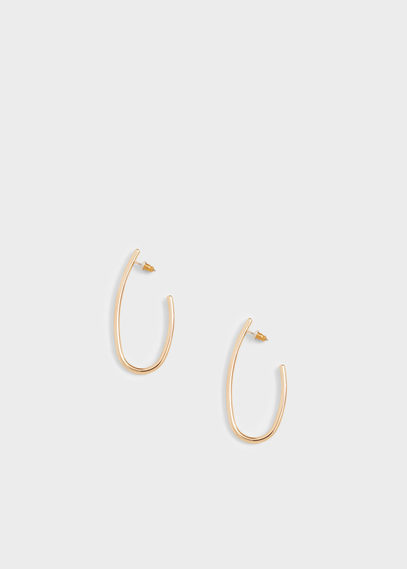 Metal Earrings - predominant colour: gold; occasions: casual, work, creative work; style: hoop; length: mid; size: standard; material: chain/metal; fastening: pierced; finish: metallic; season: s/s 2016; wardrobe: basic