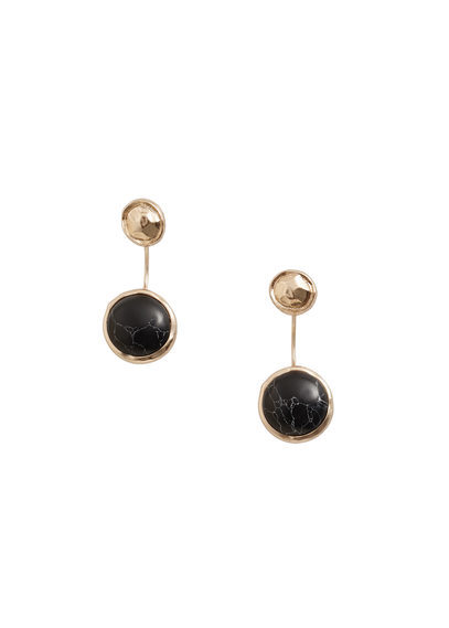 Metal Pendant Earrings - predominant colour: black; occasions: casual, work, creative work; style: drop; length: mid; size: standard; material: chain/metal; fastening: pierced; finish: plain; embellishment: jewels/stone; season: s/s 2016