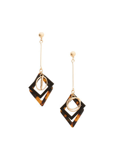 Mixed Pendant Earrings - predominant colour: gold; secondary colour: black; occasions: evening, occasion; style: drop; length: extra long; size: standard; material: chain/metal; fastening: pierced; finish: metallic; embellishment: chain/metal; multicoloured: multicoloured; season: s/s 2016; wardrobe: event