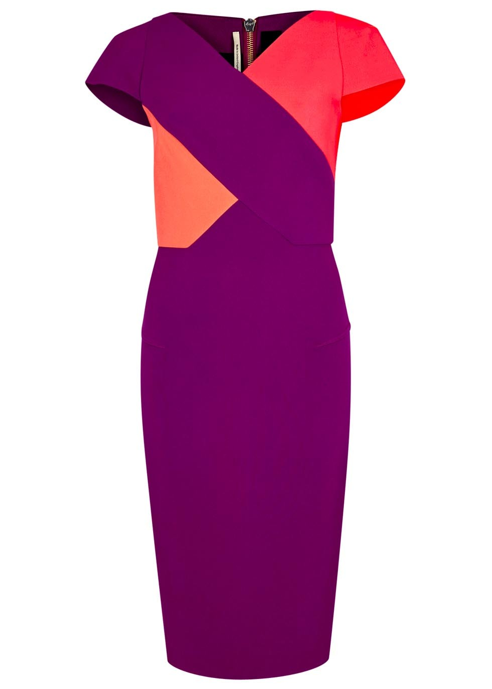 Tournay Tri Tone Dress - style: shift; neckline: v-neck; sleeve style: capped; fit: tailored/fitted; hip detail: draws attention to hips; predominant colour: magenta; secondary colour: coral; occasions: evening, occasion; length: on the knee; fibres: polyester/polyamide - 100%; sleeve length: short sleeve; texture group: crepes; pattern type: fabric; pattern size: standard; pattern: colourblock; season: s/s 2016; wardrobe: event