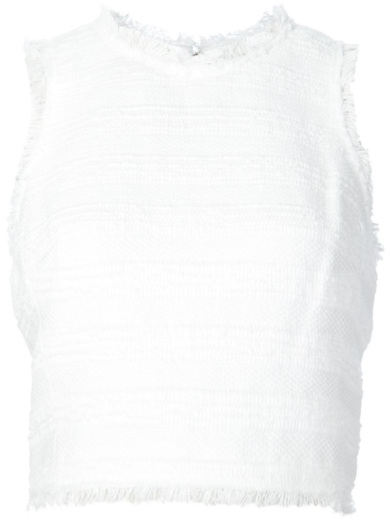 Frayed Edge Top, Women's, White - pattern: plain; sleeve style: sleeveless; length: cropped; predominant colour: white; occasions: casual; style: top; fibres: cotton - mix; fit: body skimming; neckline: crew; sleeve length: sleeveless; texture group: cotton feel fabrics; pattern type: fabric; season: s/s 2016; wardrobe: basic