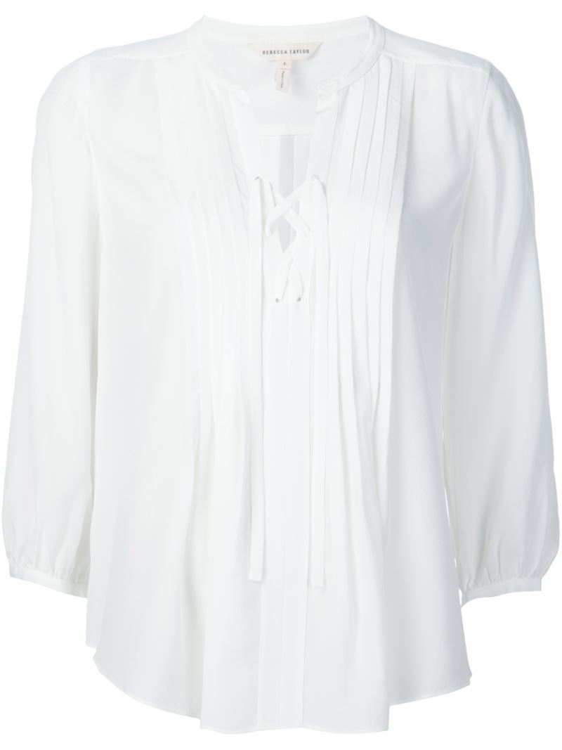 Tied Neckline Blouse, Women's, White - pattern: plain; style: blouse; predominant colour: white; occasions: casual; length: standard; neckline: collarstand & mandarin with v-neck; fibres: silk - 100%; fit: body skimming; sleeve length: 3/4 length; sleeve style: standard; texture group: silky - light; pattern type: fabric; season: s/s 2016; wardrobe: basic