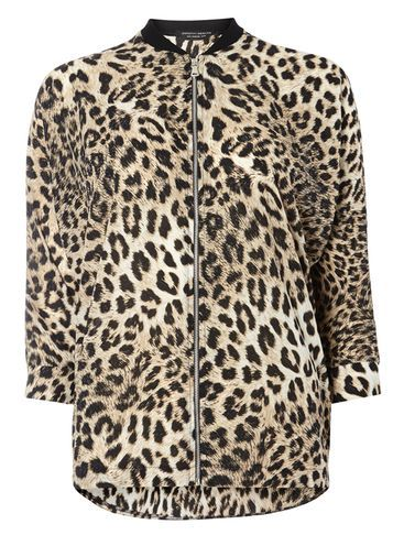 Womens Animal Print Relaxed Bomber Animal - collar: round collar/collarless; fit: slim fit; style: bomber; predominant colour: stone; secondary colour: black; occasions: casual; length: standard; fibres: polyester/polyamide - 100%; sleeve length: long sleeve; sleeve style: standard; collar break: high; pattern type: fabric; pattern: animal print; texture group: other - light to midweight; multicoloured: multicoloured; season: s/s 2016