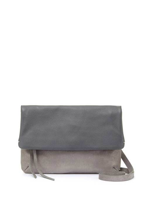 Metallic Silver Grey Madison Cross Body - predominant colour: charcoal; occasions: casual, creative work; type of pattern: standard; style: shoulder; length: across body/long; size: standard; material: suede; pattern: plain; finish: plain; season: s/s 2016; wardrobe: investment