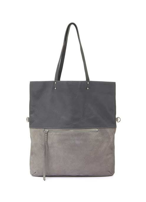 Metallic Silver Grey Lana Foldover Tote - predominant colour: mid grey; secondary colour: light grey; occasions: casual, creative work; type of pattern: standard; style: tote; length: shoulder (tucks under arm); size: standard; material: leather; finish: plain; pattern: colourblock; season: s/s 2016; wardrobe: highlight