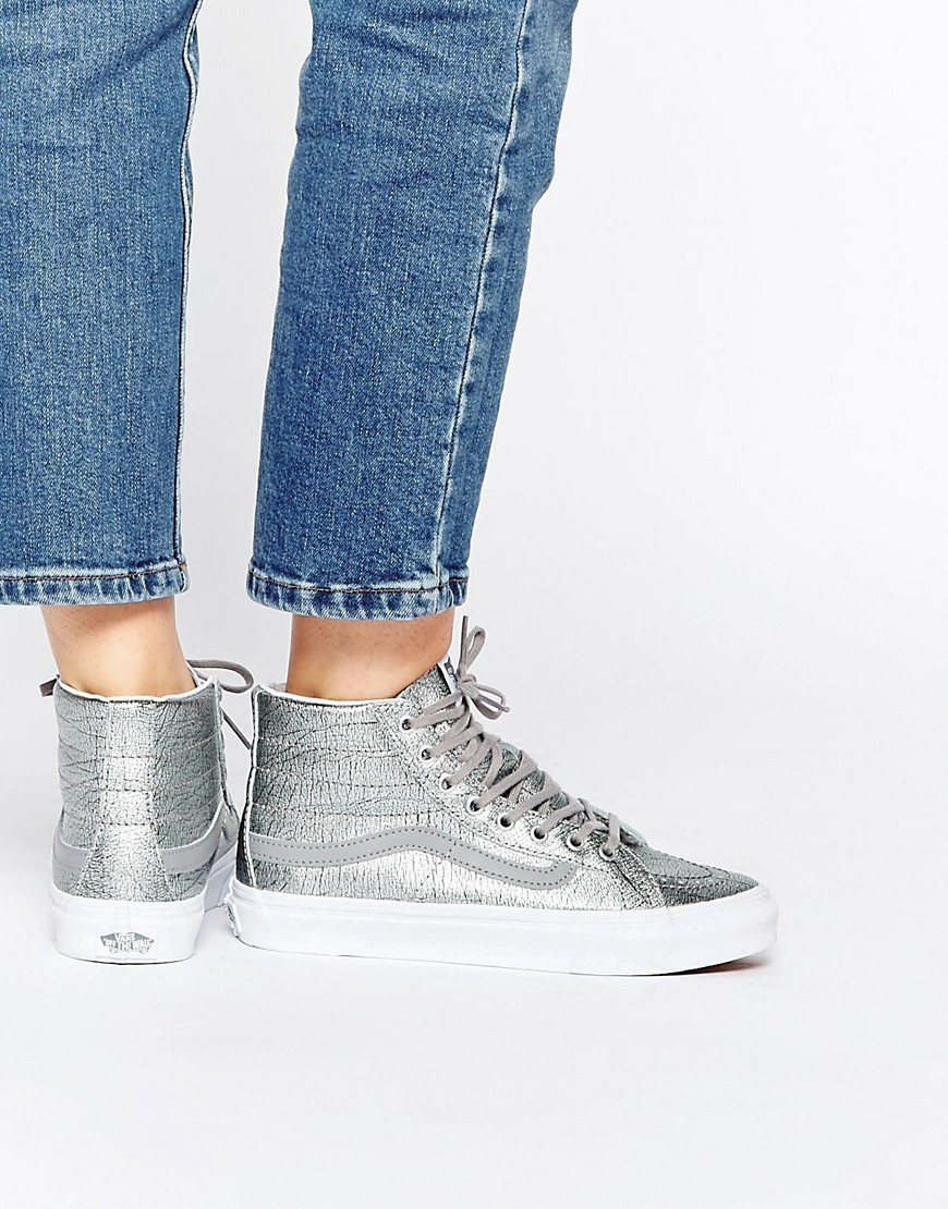 Silver Skate Hi Slim High Top Trainers Silver - predominant colour: silver; occasions: casual, creative work; material: faux leather; heel height: flat; toe: round toe; style: trainers; finish: metallic; pattern: plain; shoe detail: moulded soul; season: s/s 2016; wardrobe: highlight