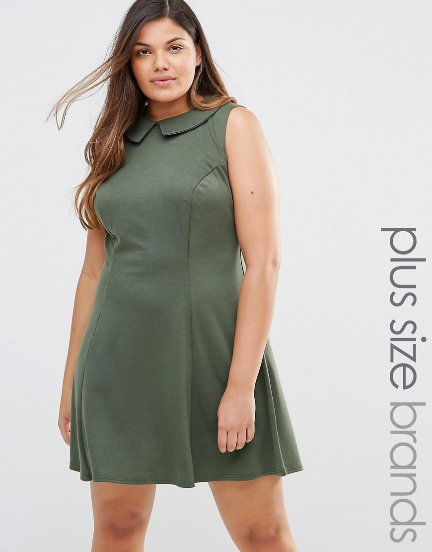 Dress With Collar Khaki - pattern: plain; sleeve style: sleeveless; predominant colour: khaki; occasions: casual; length: just above the knee; fit: fitted at waist & bust; style: fit & flare; fibres: polyester/polyamide - stretch; neckline: no opening/shirt collar/peter pan; sleeve length: sleeveless; pattern type: fabric; texture group: jersey - stretchy/drapey; season: s/s 2016