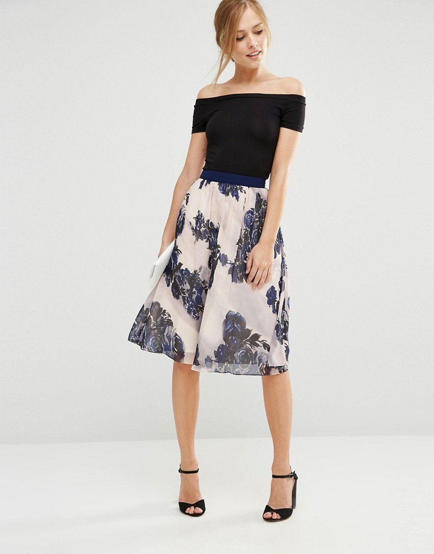 Floral Midi Skirt Floral - style: full/prom skirt; fit: loose/voluminous; waist: high rise; predominant colour: ivory/cream; secondary colour: navy; length: on the knee; fibres: polyester/polyamide - 100%; occasions: occasion, creative work; hip detail: soft pleats at hip/draping at hip/flared at hip; waist detail: narrow waistband; texture group: sheer fabrics/chiffon/organza etc.; pattern type: fabric; pattern: florals; pattern size: standard (bottom); season: s/s 2016; wardrobe: highlight