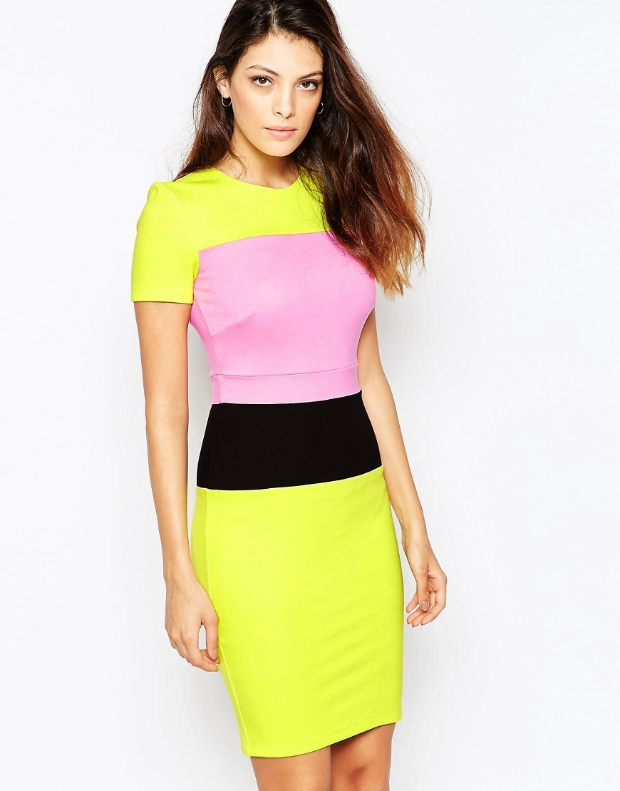 Lula Stretch Short Sleeve Dress Blk/Prncrks/Riotred - fit: tight; style: bodycon; secondary colour: pink; predominant colour: yellow; occasions: evening; length: just above the knee; fibres: viscose/rayon - stretch; neckline: crew; sleeve length: short sleeve; sleeve style: standard; texture group: jersey - clingy; pattern type: fabric; pattern: colourblock; season: s/s 2016; wardrobe: event