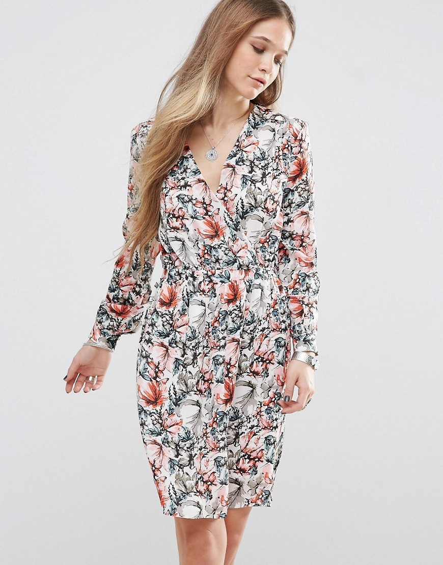 Aris Floral Tea Dress Multi 185 - style: faux wrap/wrap; neckline: v-neck; waist detail: belted waist/tie at waist/drawstring; predominant colour: white; secondary colour: mid grey; occasions: evening; length: on the knee; fit: body skimming; fibres: polyester/polyamide - stretch; sleeve length: long sleeve; sleeve style: standard; pattern type: fabric; pattern size: big & busy; pattern: florals; texture group: jersey - stretchy/drapey; multicoloured: multicoloured; season: s/s 2016; wardrobe: event