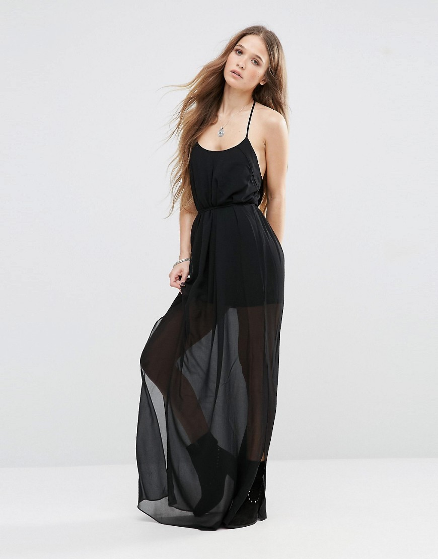 Anneke Slip Maxi Dress Black 999 - sleeve style: spaghetti straps; pattern: plain; style: maxi dress; predominant colour: black; occasions: evening; length: floor length; fit: body skimming; neckline: scoop; fibres: polyester/polyamide - 100%; sleeve length: sleeveless; texture group: sheer fabrics/chiffon/organza etc.; pattern type: fabric; season: s/s 2016