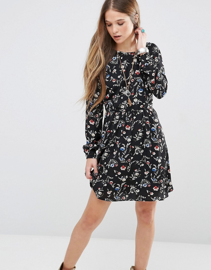 Mabel Floral Dress Black 0aa - secondary colour: mid grey; predominant colour: black; occasions: evening; length: just above the knee; fit: fitted at waist & bust; style: fit & flare; fibres: polyester/polyamide - 100%; neckline: crew; sleeve length: long sleeve; sleeve style: standard; pattern type: fabric; pattern: patterned/print; texture group: woven light midweight; multicoloured: multicoloured; season: s/s 2016