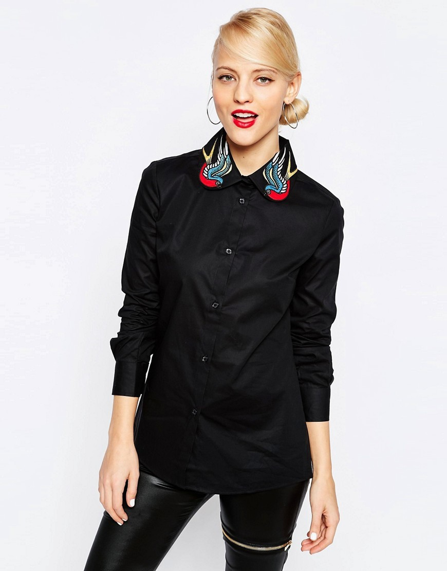 Swallow Tattoo Collar Shirt Black - neckline: shirt collar/peter pan/zip with opening; style: shirt; secondary colour: true red; predominant colour: black; occasions: evening; length: standard; fibres: cotton - mix; fit: body skimming; sleeve length: long sleeve; sleeve style: standard; pattern type: fabric; pattern: patterned/print; texture group: other - light to midweight; embellishment: embroidered; season: s/s 2016; wardrobe: event