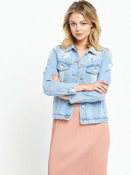Oversized Denim Jacket - pattern: plain; style: denim; predominant colour: denim; occasions: casual; length: standard; fit: straight cut (boxy); fibres: cotton - stretch; collar: shirt collar/peter pan/zip with opening; sleeve length: long sleeve; sleeve style: standard; texture group: denim; collar break: high/illusion of break when open; pattern type: fabric; season: s/s 2016; wardrobe: basic