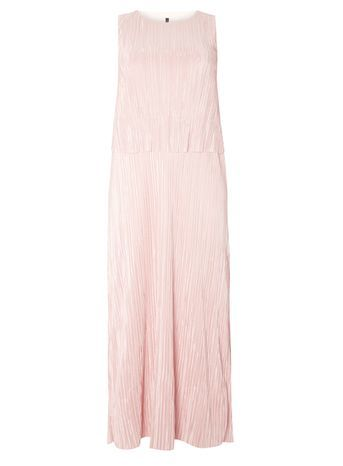 Blush Pink Plisse Maxi Dress - pattern: plain; sleeve style: sleeveless; style: maxi dress; length: ankle length; predominant colour: blush; occasions: evening; fit: soft a-line; fibres: polyester/polyamide - 100%; neckline: crew; sleeve length: sleeveless; texture group: sheer fabrics/chiffon/organza etc.; pattern type: fabric; season: s/s 2016; wardrobe: event