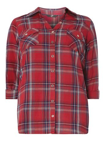 Red Check Shirt - neckline: shirt collar/peter pan/zip with opening; pattern: checked/gingham; style: shirt; bust detail: pocket detail at bust; predominant colour: true red; occasions: casual; length: standard; fibres: cotton - 100%; fit: loose; sleeve length: 3/4 length; sleeve style: standard; texture group: cotton feel fabrics; pattern type: fabric; pattern size: big & busy (top); season: s/s 2016; wardrobe: highlight