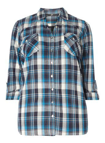 Navy Blue Check Shirt - neckline: shirt collar/peter pan/zip with opening; pattern: checked/gingham; style: shirt; bust detail: subtle bust detail; predominant colour: navy; occasions: casual; length: standard; fibres: cotton - 100%; fit: loose; sleeve length: 3/4 length; sleeve style: standard; texture group: cotton feel fabrics; pattern type: fabric; pattern size: big & busy (top); season: s/s 2016; wardrobe: highlight