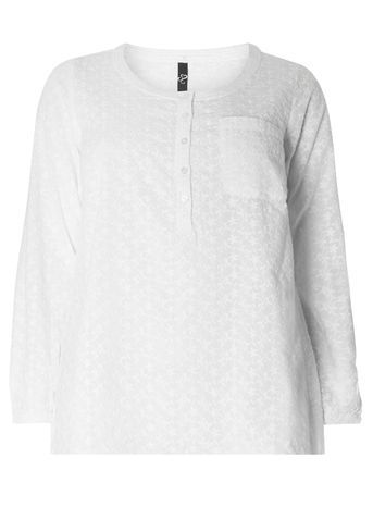 Ivory Embroidered Top - neckline: round neck; pattern: plain; bust detail: pocket detail at bust; predominant colour: white; occasions: casual; length: standard; style: top; fibres: cotton - 100%; fit: loose; sleeve length: 3/4 length; sleeve style: standard; pattern type: fabric; texture group: jersey - stretchy/drapey; embellishment: embroidered; season: s/s 2016