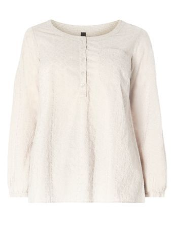Neutral Embroidered Top - neckline: round neck; pattern: plain; bust detail: pocket detail at bust; predominant colour: ivory/cream; occasions: casual; length: standard; style: top; fibres: cotton - 100%; fit: loose; sleeve length: 3/4 length; sleeve style: standard; pattern type: fabric; texture group: jersey - stretchy/drapey; embellishment: embroidered; season: s/s 2016; wardrobe: highlight