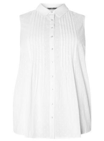 White Textured Shirt - neckline: shirt collar/peter pan/zip with opening; pattern: plain; sleeve style: sleeveless; style: shirt; predominant colour: white; occasions: casual, holiday; length: standard; fibres: cotton - 100%; fit: body skimming; sleeve length: sleeveless; pattern type: fabric; texture group: woven light midweight; season: s/s 2016; wardrobe: basic