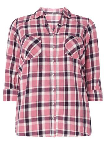 Pink Pear Fit Check Shirt - neckline: shirt collar/peter pan/zip with opening; pattern: checked/gingham; style: shirt; predominant colour: pink; secondary colour: black; occasions: casual; length: standard; fibres: cotton - 100%; fit: body skimming; sleeve length: 3/4 length; sleeve style: standard; pattern type: fabric; texture group: other - light to midweight; pattern size: big & busy (top); multicoloured: multicoloured; season: s/s 2016