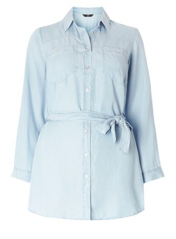 Blue Tencel Longline Shirt - neckline: shirt collar/peter pan/zip with opening; pattern: plain; length: below the bottom; style: shirt; waist detail: belted waist/tie at waist/drawstring; predominant colour: pale blue; occasions: casual; fibres: viscose/rayon - 100%; fit: body skimming; sleeve length: long sleeve; sleeve style: standard; pattern type: fabric; texture group: other - light to midweight; season: s/s 2016; wardrobe: highlight