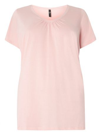 Pink Short Sleeve T Shirt - neckline: v-neck; pattern: plain; style: t-shirt; predominant colour: blush; occasions: casual, work, creative work; length: standard; fibres: cotton - 100%; fit: body skimming; sleeve length: short sleeve; sleeve style: standard; pattern type: fabric; texture group: jersey - stretchy/drapey; season: s/s 2016; wardrobe: basic