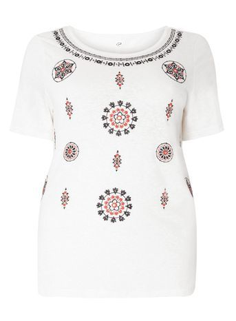 Ivory Printed Embellished Top - style: t-shirt; predominant colour: white; secondary colour: navy; occasions: casual, holiday; length: standard; neckline: scoop; fibres: cotton - mix; fit: body skimming; sleeve length: short sleeve; sleeve style: standard; texture group: jersey - clingy; pattern type: fabric; pattern size: standard; pattern: patterned/print; embellishment: embroidered; season: s/s 2016; wardrobe: highlight