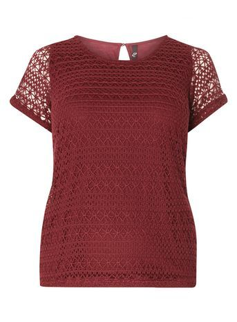 Red Crochet Top - style: t-shirt; predominant colour: burgundy; occasions: casual; length: standard; fibres: polyester/polyamide - 100%; fit: body skimming; neckline: crew; sleeve length: short sleeve; sleeve style: standard; texture group: lace; pattern type: fabric; pattern size: standard; pattern: patterned/print; embellishment: embroidered; season: s/s 2016; wardrobe: highlight