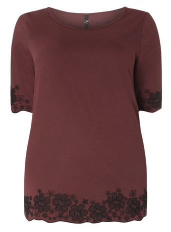 Red Embroidered Hem Top - neckline: round neck; style: t-shirt; predominant colour: burgundy; secondary colour: black; occasions: casual; length: standard; fibres: cotton - 100%; fit: body skimming; sleeve length: short sleeve; sleeve style: standard; pattern type: fabric; pattern size: standard; pattern: patterned/print; texture group: jersey - stretchy/drapey; embellishment: embroidered; season: s/s 2016; wardrobe: highlight