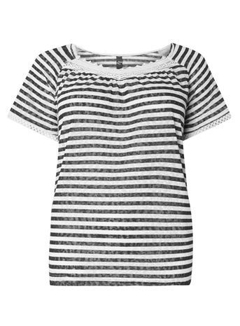 Navy Striped Top - neckline: round neck; pattern: horizontal stripes; style: t-shirt; secondary colour: white; predominant colour: navy; occasions: casual; length: standard; fibres: polyester/polyamide - 100%; fit: body skimming; sleeve length: short sleeve; sleeve style: standard; pattern type: fabric; texture group: jersey - stretchy/drapey; season: s/s 2016; wardrobe: basic