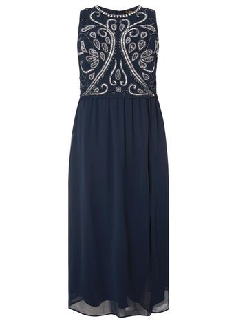Lovedrobe Luxe Navy Maxi Dress - sleeve style: sleeveless; style: maxi dress; length: ankle length; secondary colour: ivory/cream; predominant colour: navy; occasions: evening; fit: fitted at waist & bust; fibres: polyester/polyamide - 100%; neckline: crew; hip detail: soft pleats at hip/draping at hip/flared at hip; sleeve length: sleeveless; texture group: sheer fabrics/chiffon/organza etc.; pattern type: fabric; pattern: patterned/print; embellishment: beading; season: s/s 2016; wardrobe: event