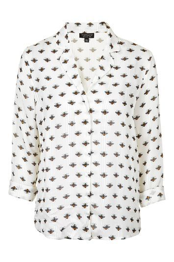 Bee Print Pyjama Style Shirt - neckline: shirt collar/peter pan/zip with opening; style: shirt; predominant colour: ivory/cream; secondary colour: black; occasions: casual, creative work; length: standard; fibres: viscose/rayon - 100%; fit: straight cut; sleeve length: 3/4 length; sleeve style: standard; trends: monochrome; pattern type: fabric; pattern size: standard; pattern: patterned/print; texture group: woven light midweight; season: s/s 2016; wardrobe: highlight
